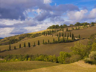 Tuscan hilly fall countryside