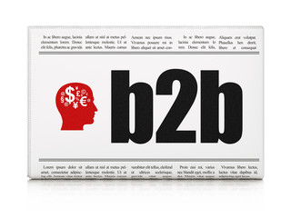Finance concept: newspaper with B2b and Head With Finance Symbol
