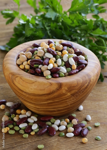 Different types of beans - red beans, chickpeas, peas