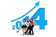Successful business team with new year 2014