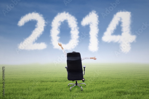 Successful businesswoman with 2014 cloud