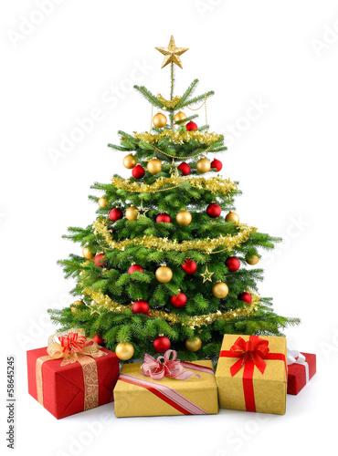 Dichter Weihnachtsbaum mit Geschenken, in rot und gold