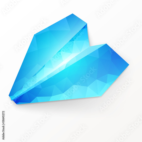 Isolated paper plane on white background.