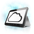 Cloud computing concept: Cloud on tablet pc computer