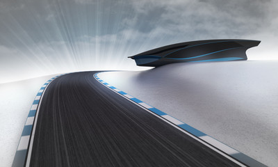 racetrack leading outdoors around futuristic building with sky
