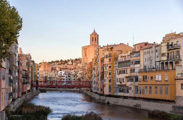 Girona Cathedral with Eiffel bridge over Onyar River - Spain