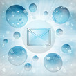 cold email message in bubble at winter snowfall