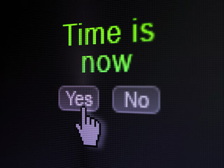 Time concept: Time is Now on digital computer screen