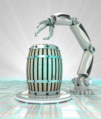 industrial robotic hand creation of beverage barrel