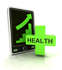 increasing graph stats of health care on smart phone display