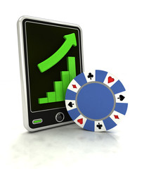 increasing graph of bet game industry on smart phone display