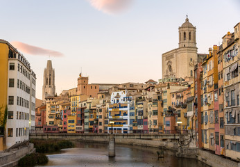 Girona Cathedral and Collegiate Church of Sant Feliu over river