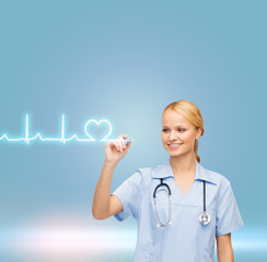 smiling doctor or nurse drawing cardiogram