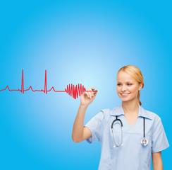 smiling doctor or nurse drawing cardiogram