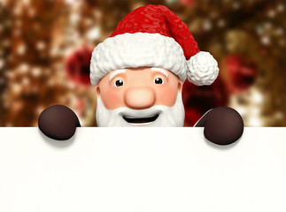 santa claus with blank billboard