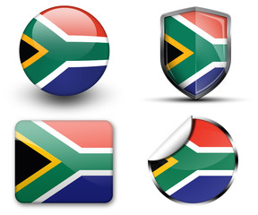 South Africa flag button sticker and badge