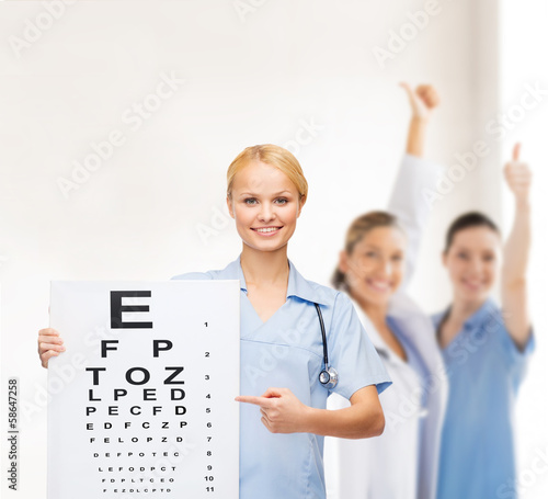 smiling female doctor or nurse with eye chart
