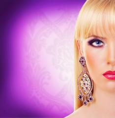 Beautiful blonde girl with earring