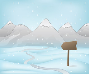 mountain landscape with road pointer at snowfall