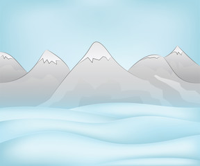 calm free winter landscape plain scene with mountains vector