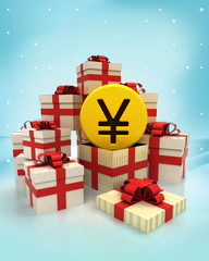 christmas gift boxes with Yuan coin surprise at winter snowfall