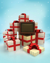 christmas gift boxes with retro television surprise at winter