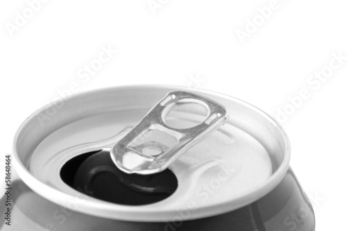 Closeup ring pull on an open beverage can.