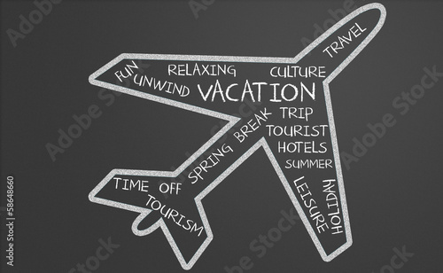 Vacation word cloud in plane shape