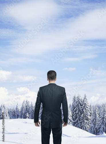 businessman looking forest
