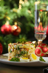 Russian traditional salad Olivier,