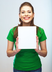 Girl student hold white blank board. White background young wom