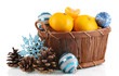 Christmas tangerines in basket isolated white