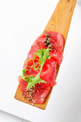 Beef Carpaccio on spatula