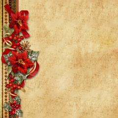 Christmas garland with poinsettia on the vintage background