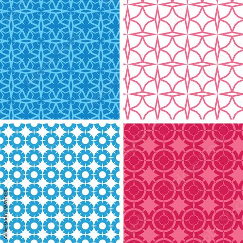 Vector set of four blue and red abstract geometric patterns and