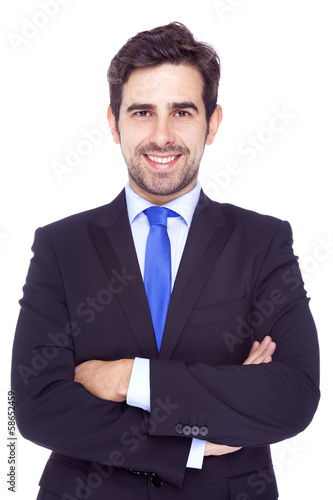 Portrait of a smiling handsome business man, isolated on white b