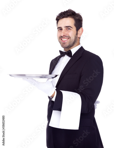 Professional waiter holding an empty dish, isolated on white bac