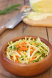 Russian cabbage salad on wooden rustic table