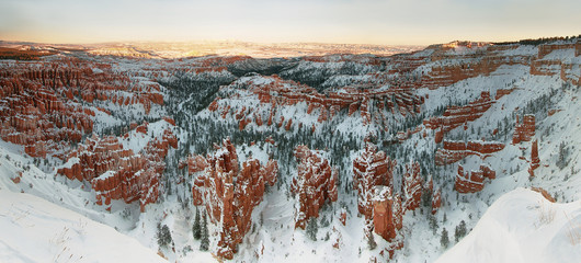 Bryce canyon panorama with snow in Winter