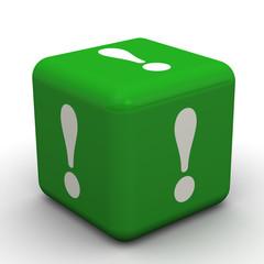 Зелёный кубик с восклицательными знаками на гранях