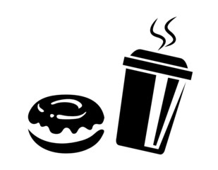 Donuts & Coffee to go Sylhouette in schwarz