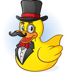 Rubber Duck Wealthy Gentleman Cartoon Character