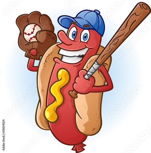 Hot Dog Cartoon Character Playing Baseball