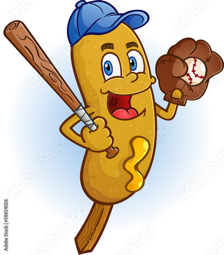 Corn Dog Cartoon Character Playing Baseball