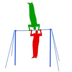 Silhouette of an athlete on the horizontal bar. Vector illustrat