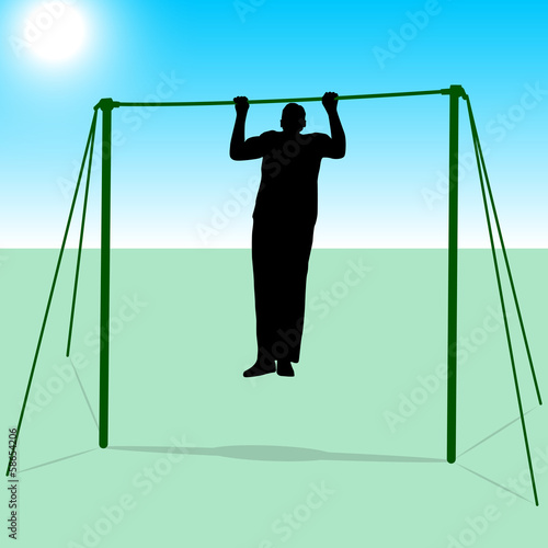 Silhouette of an athlete on the horizontal bar. Vector illustrat