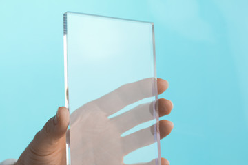 Transparent Blank Future Mini Computer Tablet Phone in Hand