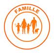 famille sur bouton web rond orange