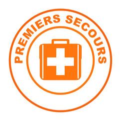 premiers secours sur bouton web rond orange