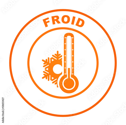 froid sur bouton web rond orange
